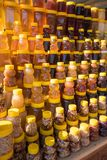 A lot of jars with natural organic honey stock photography