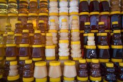 A lot of jars with natural organic honey stock photos