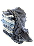 A lot of jeans on white background Stock Photo