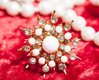 Lot of jewellery close up in red velvet box, ring Royalty Free Stock Photography