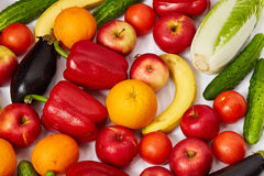 A lot of juicy fruit and vegetables Royalty Free Stock Photos