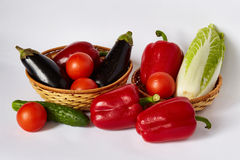 A lot of juicy vegetables and juicy fruit Royalty Free Stock Photos