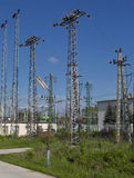 Lot of electric poles. With sky Stock Images