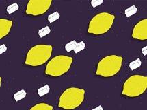Lot of lemons and sugar lumps seamless pattern Stock Photos