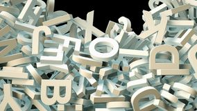 A lot of letters falling from the sky. Education and culture concept. Black background 3d rendering Stock Photography