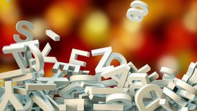 A lot of letters falling from the sky. Education and culture concept. 3d. A lot of letters falling from the sky. Education and culture concept. red and gold Royalty Free Stock Photography