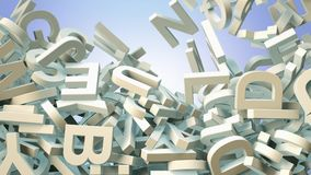 A lot of letters falling from the sky. Education and culture concept. 3d. A lot of letters falling from the sky. Education and culture concept. Blue background Royalty Free Stock Image