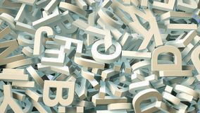 A lot of letters falling from the sky. Education and culture concept. 3d. A lot of letters falling from the sky. Education and culture concept. Blue background Royalty Free Stock Photography