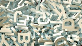 A lot of letters falling from the sky. Education and culture concept. 3d Stock Photo