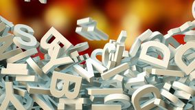 A lot of letters falling from the sky. Education and culture concept. 3d. A lot of letters falling from the sky. Education and culture concept. red and gold Stock Photos