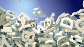 A lot of letters falling from the sky. Education and culture concept. 3d rendering. A lot of letters falling from the sky. Education and culture concept. Blue royalty free illustration