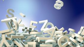 A lot of letters falling from the sky. Education and culture concept. 3d rendering. A lot of letters falling from the sky. Education and culture concept. Blue Stock Photo