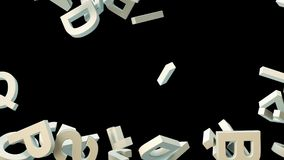A lot of letters falling from the sky. Education and culture concept. Black background 3d rendering Royalty Free Stock Photo