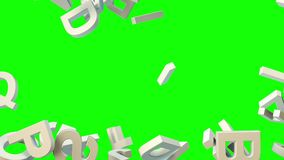 A lot of letters falling from the sky. Education and culture concept. Green background 3d rendering Royalty Free Stock Photos