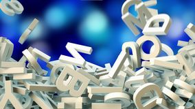 A lot of letters falling from the sky. Education and culture concept. Blue bokeh background 3d rendering Stock Photo