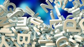 A lot of letters falling from the sky. Education and culture concept. Blue bokeh background 3d rendering Stock Images