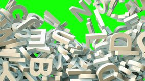 A lot of letters falling from the sky. Education and culture concept. Green background 3d rendering Stock Photos