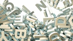A lot of letters falling from the sky. Education and culture concept. 3d rendering Stock Photo