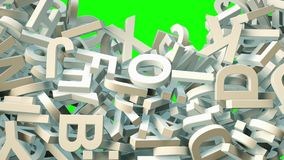 A lot of letters falling from the sky. Education and culture concept. Green background 3d rendering Stock Images