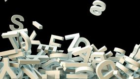 A lot of letters falling from the sky. Education and culture concept. Black background 3d rendering Stock Photos