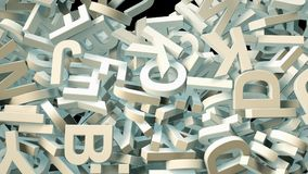 A lot of letters falling from the sky. Education and culture concept. Black background 3d rendering Stock Photo