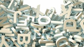 A lot of letters falling from the sky. Education and culture concept. 3d rendering Royalty Free Stock Image