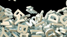 A lot of letters falling from the sky. Education and culture concept. Black background 3d rendering stock images
