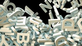 A lot of letters falling from the sky. Education and culture concept. Black background 3d rendering Royalty Free Stock Photography