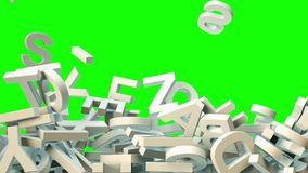 A lot of letters falling from the sky. Education and culture concept. Green background 3d rendering Royalty Free Stock Photo