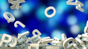 A lot of letters falling from the sky. Education and culture concept. Blue bokeh background 3d rendering Royalty Free Stock Images