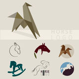 A lot of logos depicting horses. In different styles Stock Photos