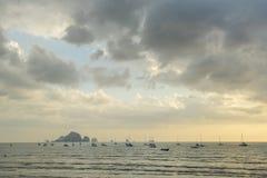 A lot of long tail boat back from diving at the Ao Nang beach Royalty Free Stock Photos