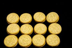 Lot and lot of sweet round cookie`s. A cookie is a baked or cooked food that is small, flat and sweet. It usually contains flour, sugar and some type of oil or Royalty Free Stock Photos