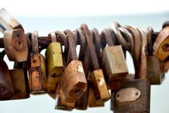A lot of love padlocks Stock Photos