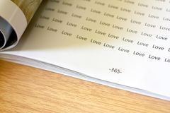 A lot of love word on 365 page stock photos