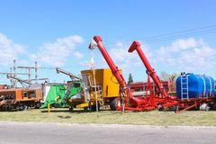 Colorful agriculture machines royalty free stock image