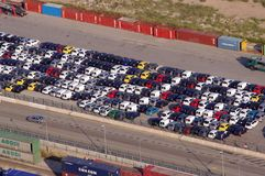 Lot of many cars for sale or shipping at the port of Barcelona, Spain royalty free stock image