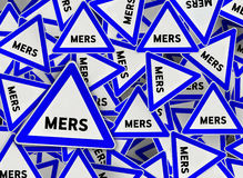 A lot of mers on blue triangle road sign Stock Photo