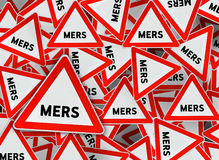 A lot of mers on red triangle road sign Royalty Free Stock Photography