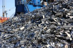 Metal recycling mountain stock photos