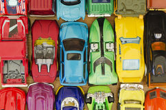 Lot of miniature cars background Stock Images