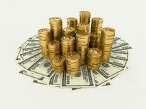 A lot of money. The money (paper, coins Royalty Free Stock Photos
