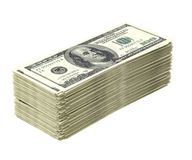 Lot of money. Big pile of money isolated on white (dollar version Royalty Free Stock Photos