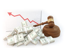 A lot of Money for auction with business chart Stock Photos