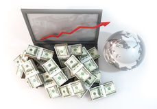 Lot of Money on Computer Laptop with arrow business top view. 3D rendering graphic design is 100 dollar bills as heap on computer and arrow chart of business Royalty Free Stock Photo