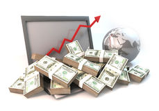 Lot of Money on Computer Laptop with business arrow. 3D rendering graphic design is 100 dollar bills as heap on computer and arrow chart of business with globe Royalty Free Stock Photography