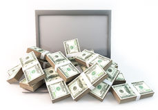 Lot of Money on Computer Laptop white background Royalty Free Stock Images
