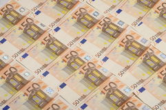 Lot of money fifty euros banknote Royalty Free Stock Images