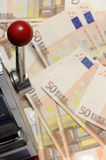 Lot of money fifty euros and slot machine Stock Photo