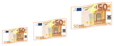 A lot of money fly. Cash of 50 euro flying together Stock Photo